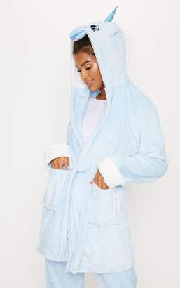 PrettyLittleThing Pale Blue Unicorn 3D Hooded Robe