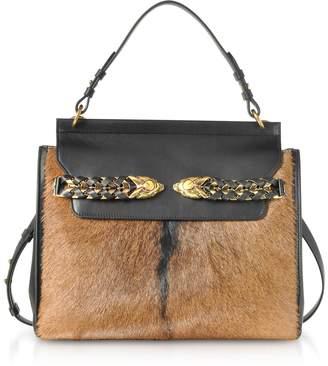 Roberto Cavalli Black Leather And Natural Pony Hair Satchel Bag 10e341b69c824