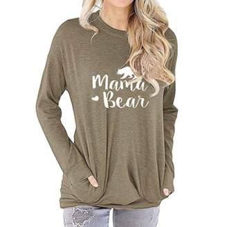 c8fcde5486e ZMLIA Womens Mama Bear Long Sleeve T-Shirt Round Neck Causal Graphic Tees  Blouse