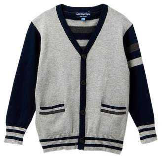 Andy & Evan Stripe Varsity Sweater (Toddler & Little Boys)