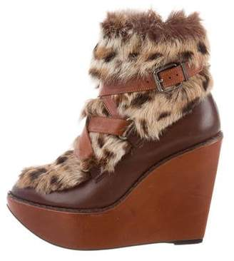 Robert Clergerie Fur-Trimmed Wedge Ankle Boots