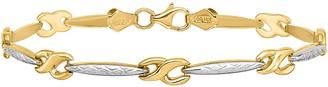 14K Two-Tone Infinity Symbol Link Bracelet, 4.0g