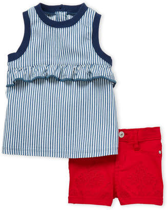 AG Adriano Goldschmied Toddler Girls) Two-Piece Stripe Ruffle Top & Embroidered Shorts Set