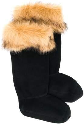 Hunter faux-fur trimmed welly socks