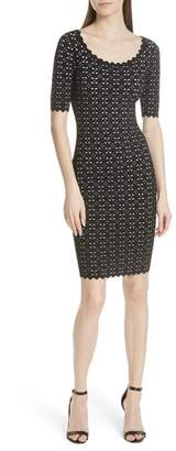 Milly Laser Cut Pointelle Sheath Dress