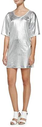McQ Women's T Sleeve T-Shirt Dress Optic White w/Silver Foil Print MD