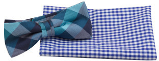 Geoffrey Beene Bowtie & Pocket Square Set - Check/Gingham