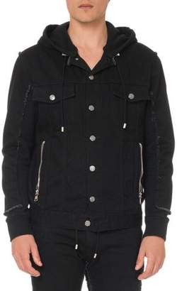 Balmain Men's Hooded Denim and Jersey Jacket