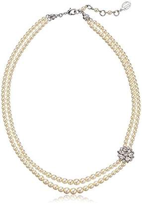 Ben-Amun Jewelry Two Strand Pearl Floral Crystal Pendant Necklace