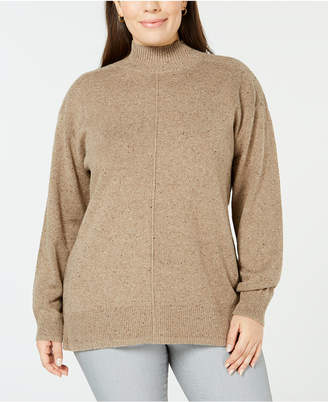 Karen Scott Plus Size Textured Mock Turtleneck Sweater