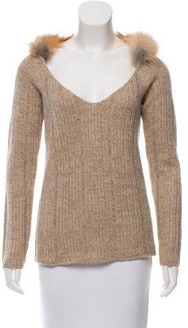 prada Prada Fur-Trimmed V-Neck Sweater