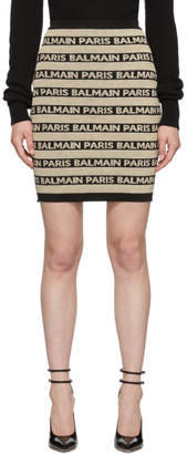 Balmain Black and Beige Logo Stripes Miniskirt
