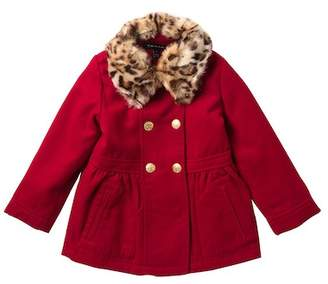 Tahari Faux Wool Coat with Detachable Faux Fur Collar (Toddler Girls)