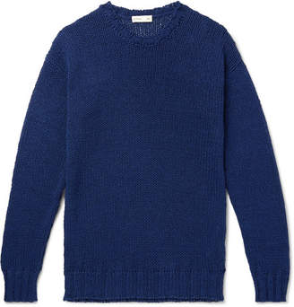 Etro Garment-Dyed Ribbed Cotton And Linen-Blend Sweater