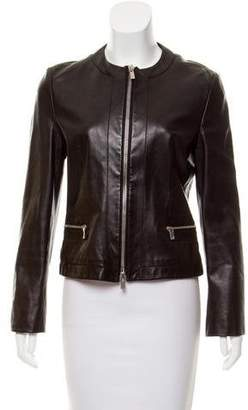 Michael Kors Collarless Leather Jacket