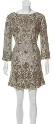 Marchesa Embellished Silk Dress