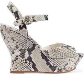 Alice + Olivia Jana Snake-effect Leather Wedge Sandals