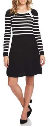 CeCe Stripe A-Line Sweater Dress