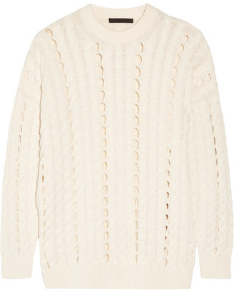 Alexander Wang - Open Cable-knit Cotton Sweater - Cream $620 thestylecure.com