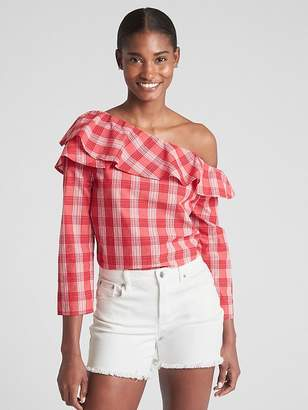 Gap Ruffle One-Shoulder Plaid Blouse in Poplin