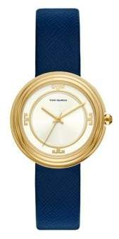 Tory Burch Bailey Three-Hand Navy Leather Watch