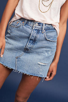 Levi's Distressed Denim Mini Skirt $138 thestylecure.com