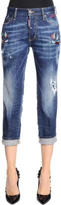 DSQUARED2 Boyfriend Fit Tattoo Birds Denim Jeans