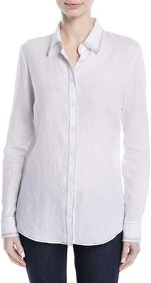 Gabriela Hearst Long-Sleeve Button-Down Linen Shirt w/ Contrast Topstitching