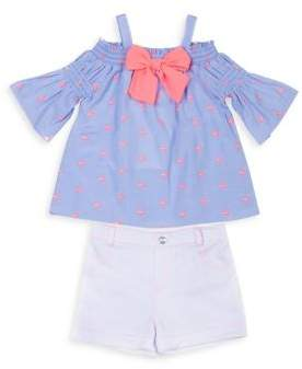 Little Lass Little Girl's Two-Piece Flamingo Bell-Sleeve Cotton Top and Stretch Shorts Set