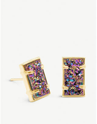 Kendra Scott Paola 14ct yellow gold-plated brass and multi-coloured drusy earrings