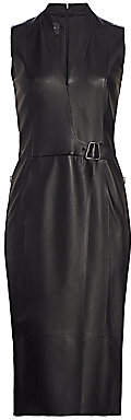 Akris Women's Wrap Effect Leather Dress