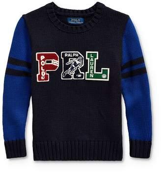 Ralph Lauren Boys' Letterman Sweater - Little Kid