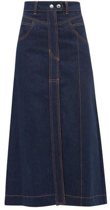 Ellery Traffic A Line Denim Skirt - Womens - Indigo
