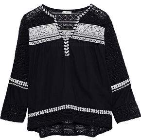 Joie Coriana Crochet-Paneled Embroidered Cotton-Gauze Blouse