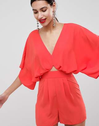 Asos Design DESIGN Playsuit With Kimono Sleeve And Cut Out