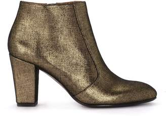 Chie Mihara Gold Laminated Leather Fabric Effect Ankle Boots