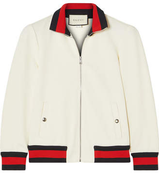 Gucci Striped Twill Bomber Jacket - Ivory