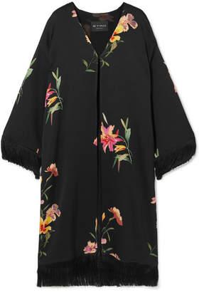 Etro Fringed Floral-print Satin Kimono - Black