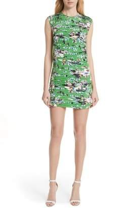 Diane von Furstenberg Pleat Print Silk Minidress