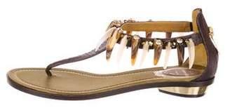 Rene Caovilla Embossed Thong Sandals