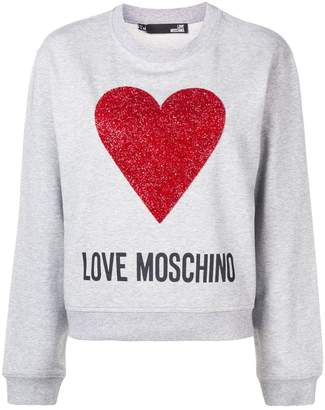 Love Moschino tinsel heart logo sweatshirt