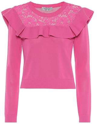 Valentino Lace-trimmed cotton sweater
