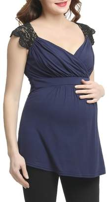 Kimi and Kai Jeanette Lace Accent Empire Waist Maternity Top