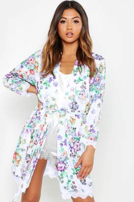 boohoo Floral Lace Trim Gown