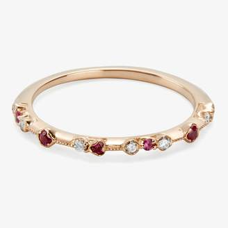 Rubie's Costume Co Kataoka Dotted Band Ring Diamonds, Rubies, Rose Gol