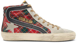 Golden Goose Red Tartan Slide Sneakers