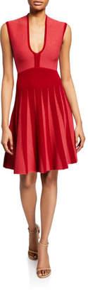 Emporio Armani Pleated Knit Jacquard Cocktail Dress