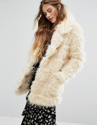 Glamorous Coat In Shaggy Faux Fur $166 thestylecure.com