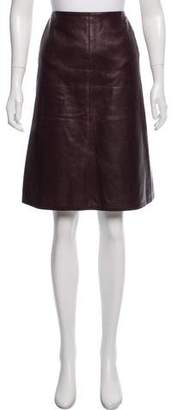 Chanel Leather Knee-Length Skirt
