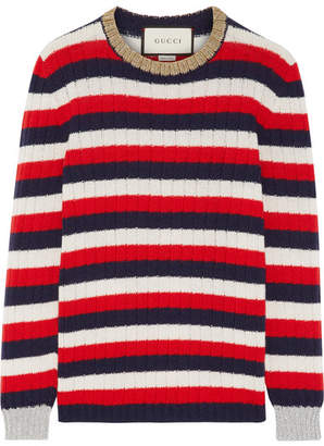 Gucci Metallic-trimmed Striped Wool And Cashmere-blend Sweater - Red